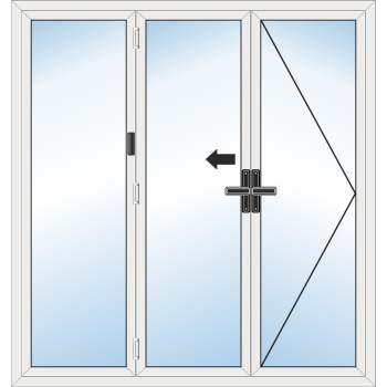 Bi Fold Door: 3 Leaf - Opening right folding to left